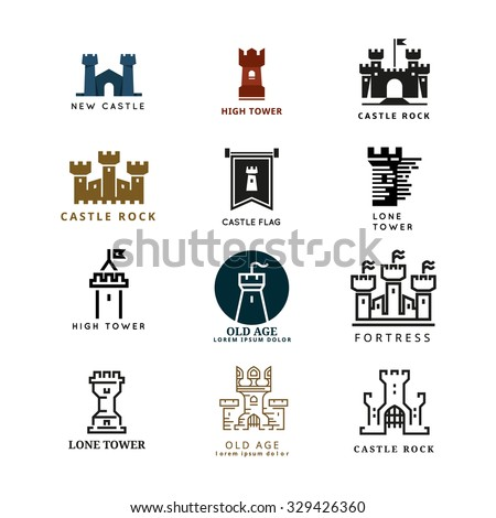 Castle, fortress vector logo set. Tower architecture icon, building medieval, fort illustration - stock vector