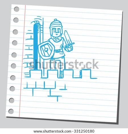 Castle guardian - stock vector