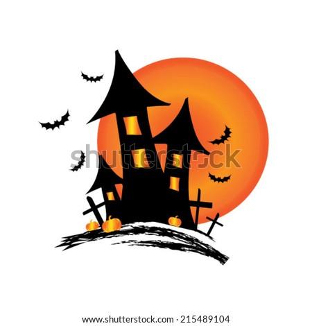 castle halloween - stock vector