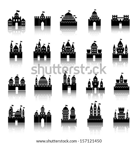 Castle Icons Set - Isolated On White Background - Vector Illustration, Graphic Design Editable For Your Design - stock vector