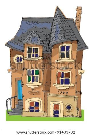 castle like old house - cartoon - stock vector