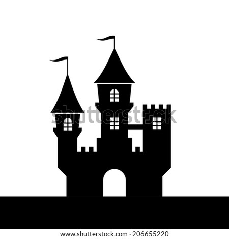 Castle Silhouette Icon on White Background. Vector illustration - stock vector