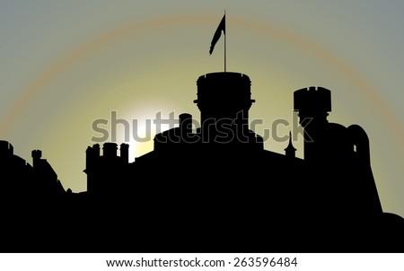 Castle silhouette. Vector illustration - stock vector