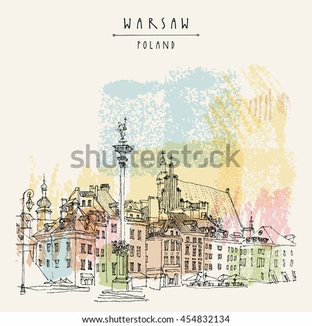 Castle Square in old Warsaw, Poland. Historic buildings. Travel sketch. Artistic vintage artwork. Hand-drawn touristic postcard, poster template template, calendar or book illustration. Vector - stock vector