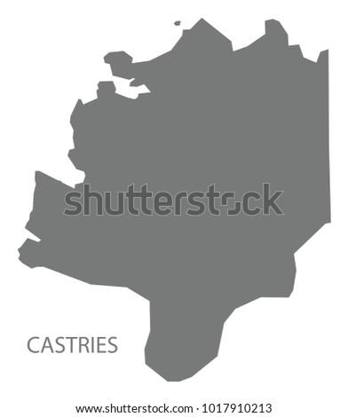 Castries Map Saint Lucia Grey Illustration Stock Vector 1017910213