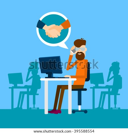 Casual Business Man Agreement On Phone Sit In Office Speak Success Conversation Handshake Icon Flat Vector Illustration - stock vector