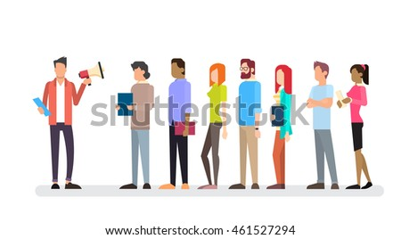 Casual Businessman Hold Megaphone Loudspeaker Colleagues Business People Team Leader Group Flat Vector Illustration