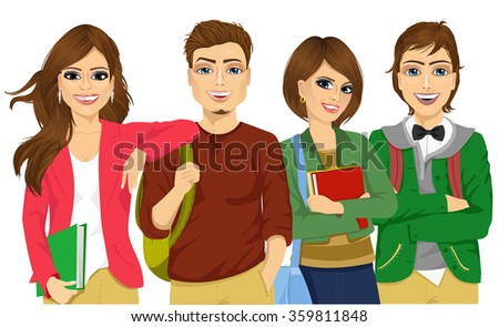 Casual group of students looking happy and smiling - stock vector