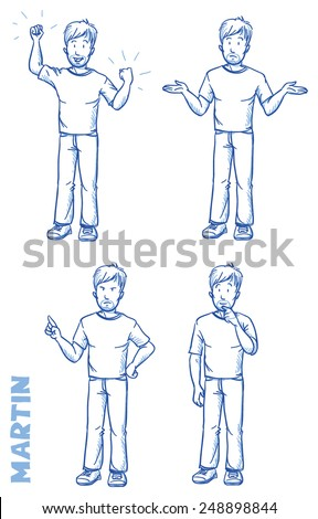 Casual man illustration in different emotions and poses, angry, happy, thoughtful, clueless, hand drawn sketch - Martin part 1 - stock vector