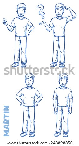 Casual man illustration in different emotions and poses, angry, happy, thoughtful, clueless, hand drawn sketch - Martin part 2 - stock vector