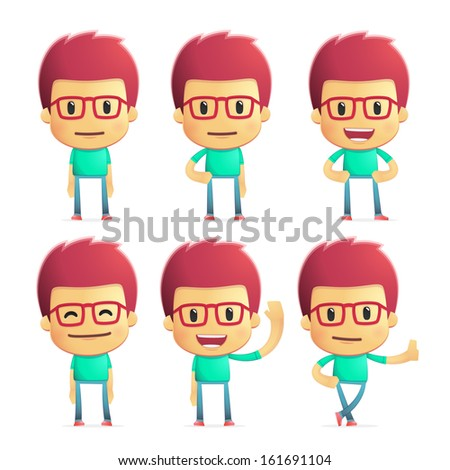 casual man in various poses for use in advertising, presentations, etc. - stock vector