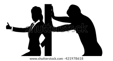 Casual man pushing a wall - isolated over a white background, woman showing thumb up - stock vector
