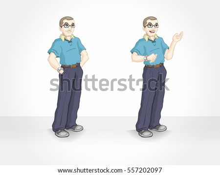Casual man with glasses. Isolated standing character.