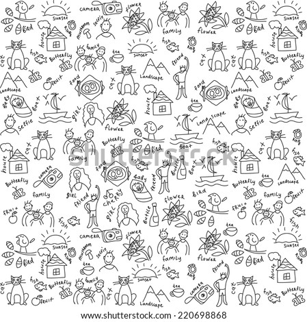Casual objects seamless pattern Draw of usual objects, which often take a photo on the camera. Black and white vector seamless pattern. - stock vector