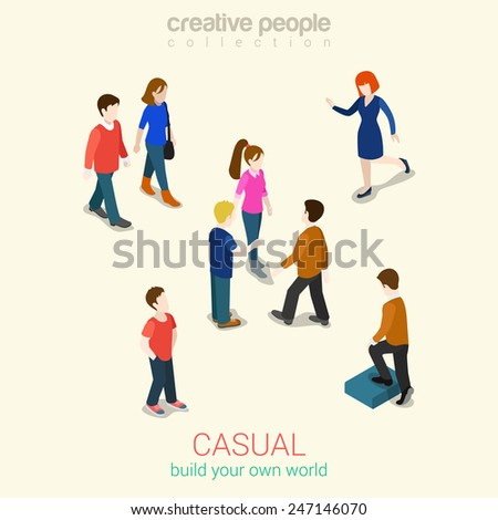 Casual people flat 3d web isometric infographic concept vector. Set of men, women and couples. Build your own world creative people collection. - stock vector