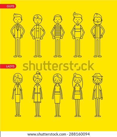 Casual set characters for use in design. vector flat illustration. Line art style - stock vector