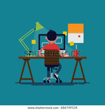 Casually clothed office worker at his desk busy with his tasks, back view. Cool vector flat design illustration on productivity at work with man working on desktop computer