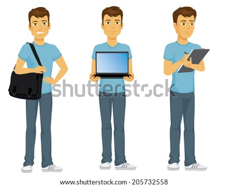 Casually dressed happy cartoon student carrying a laptop bag, writing on clipboard and holding a laptop computer  - stock vector