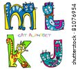 cat alphabet j k l m - stock vector