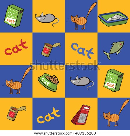 Cat and accessories for care and cats shop. Seamless background of products for cats bowl food, mouse toy, lettering, fish, litter. Vector illustration. - stock vector