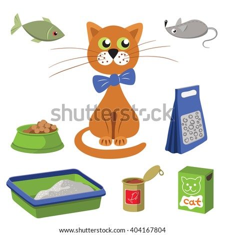 Cat and accessories for care. Vector illustration - stock vector