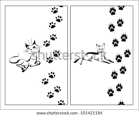 Cat and dog black and white illustration with their footsteps - stock vector