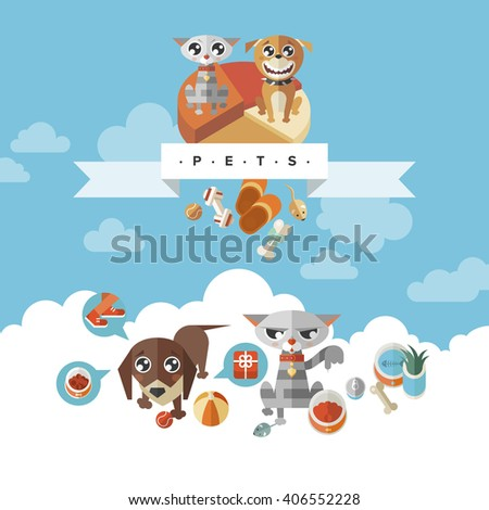 Cat And Dog Cartoon Illustration. Cat And Dog food. Cat And Dog Stickers. Cat And Dog Toys. - stock vector