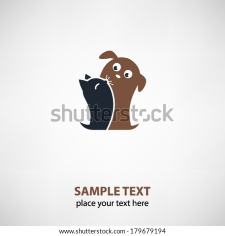 Cat and dog friends - stock vector