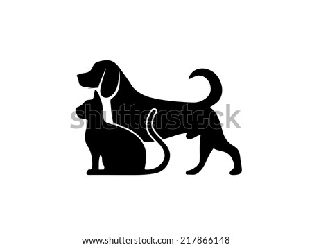 cat and dog symbol of veterinary medicine - stock vector