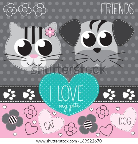 cat and dog vector illustration - stock vector