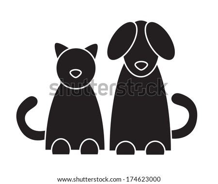 Cat and dog. Vector illustration. - stock vector