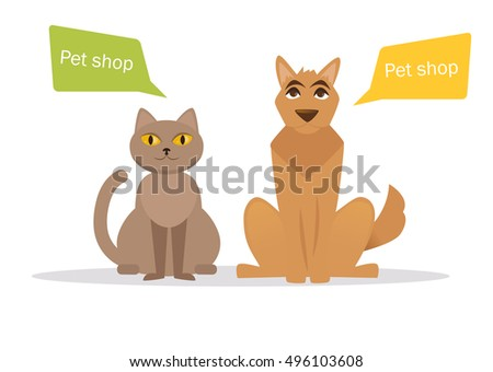 Cat and dog. Vector isolated illustration on a white background. Cartoon character. Drawing for vet clinics, pet shop.