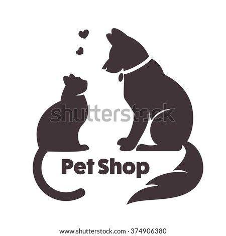 Cat and dog vector signs and logo. Vector logo for veterinary clinic.logo for a pet shop. Red silhouette of the dog, silhouette of the cat on a white background. logo for veterinary services - stock vector