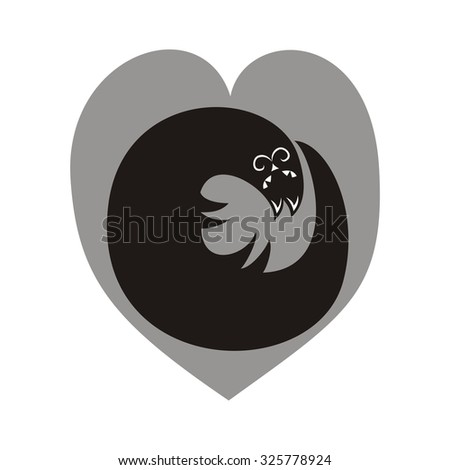 Cat and heart cute cartoon black and white vector illustration