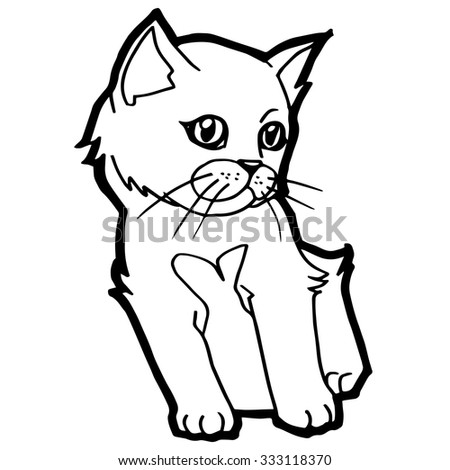 Cat Kitten Coloring Page Kid Stock Vector 332955599 - Shutterstock