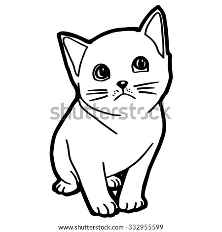 Cat Kitten Coloring Page Kid Stock Vector HD (Royalty Free ...