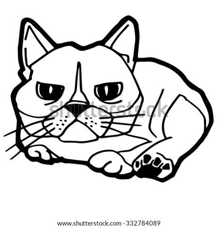 Cat Kitten Coloring Page Vector Stock Vector 332784089 - Shutterstock