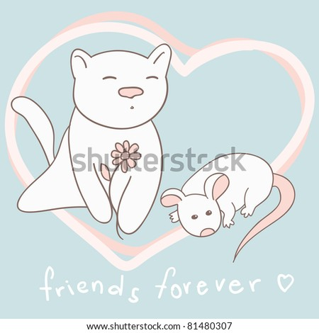 cat and mouse cute friendship card in vector