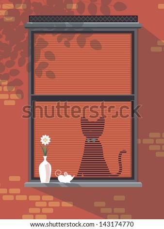 Cat and rat in window - stock vector
