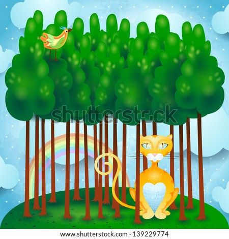 Cat and woods, vector - stock vector