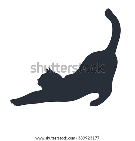Cat. Animal. Black cat silhouette on a white background. Black silhouette of cat. Vector