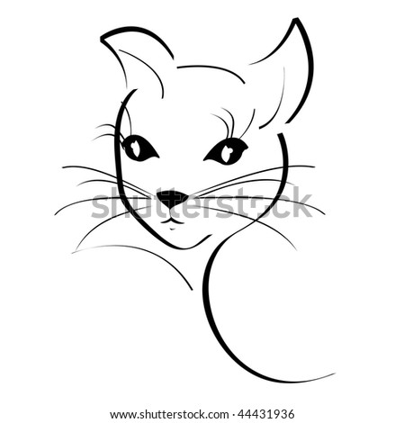 Cat tattoo stock images royalty free images vectors for White cat tattoo floresta