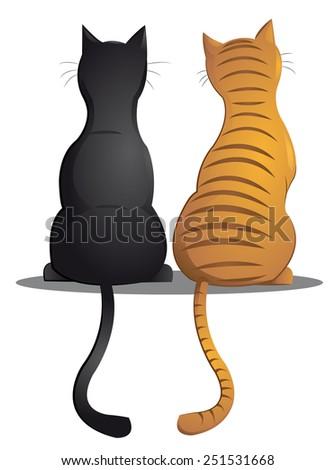 cat buddies - stock vector