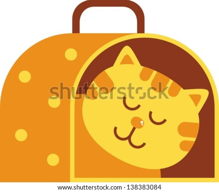 cat carrier aÂ? vector illustration, a cat carrying a cat in it - stock vector