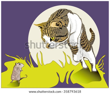 Cat catches mouse - stock vector