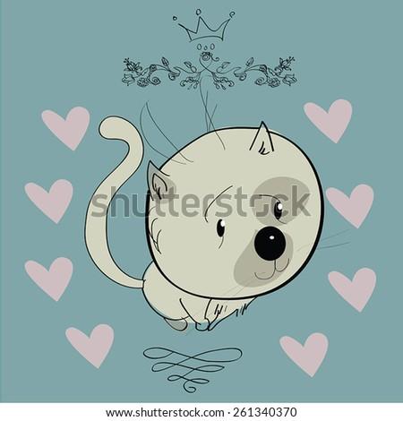 Cat  character. Cartoon styled vector illustration.  - stock vector