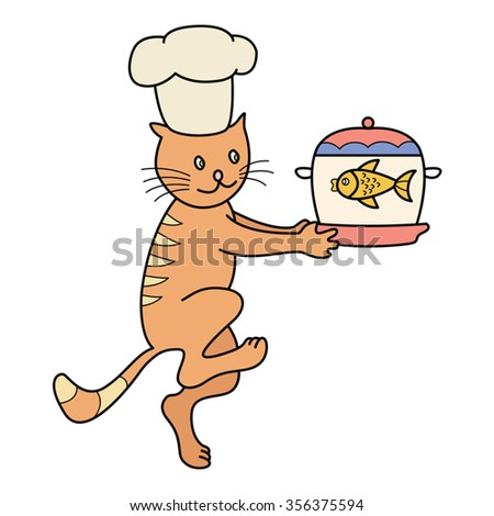 Cat chef carries a pot of fish soup, kitchen scene. Vector illustration.  - stock vector
