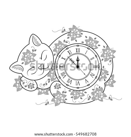 Cat Clock Coloring Page Thin Line Book Vector Illustration For Kids And Adult