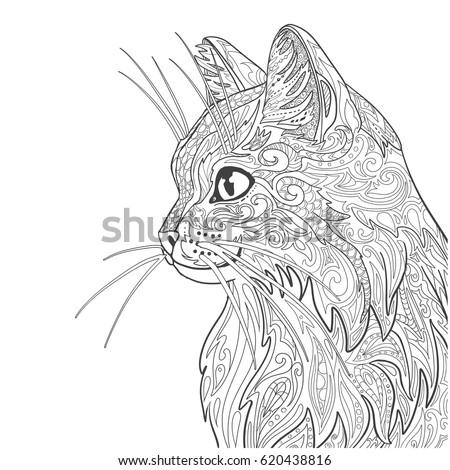 Cat Coloring Book Page Decorative Doodle Stock Vector 620438816 ...