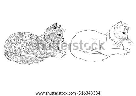 Cat Coloring Book Page Doodle Outline Stock Vector 516343384 ...